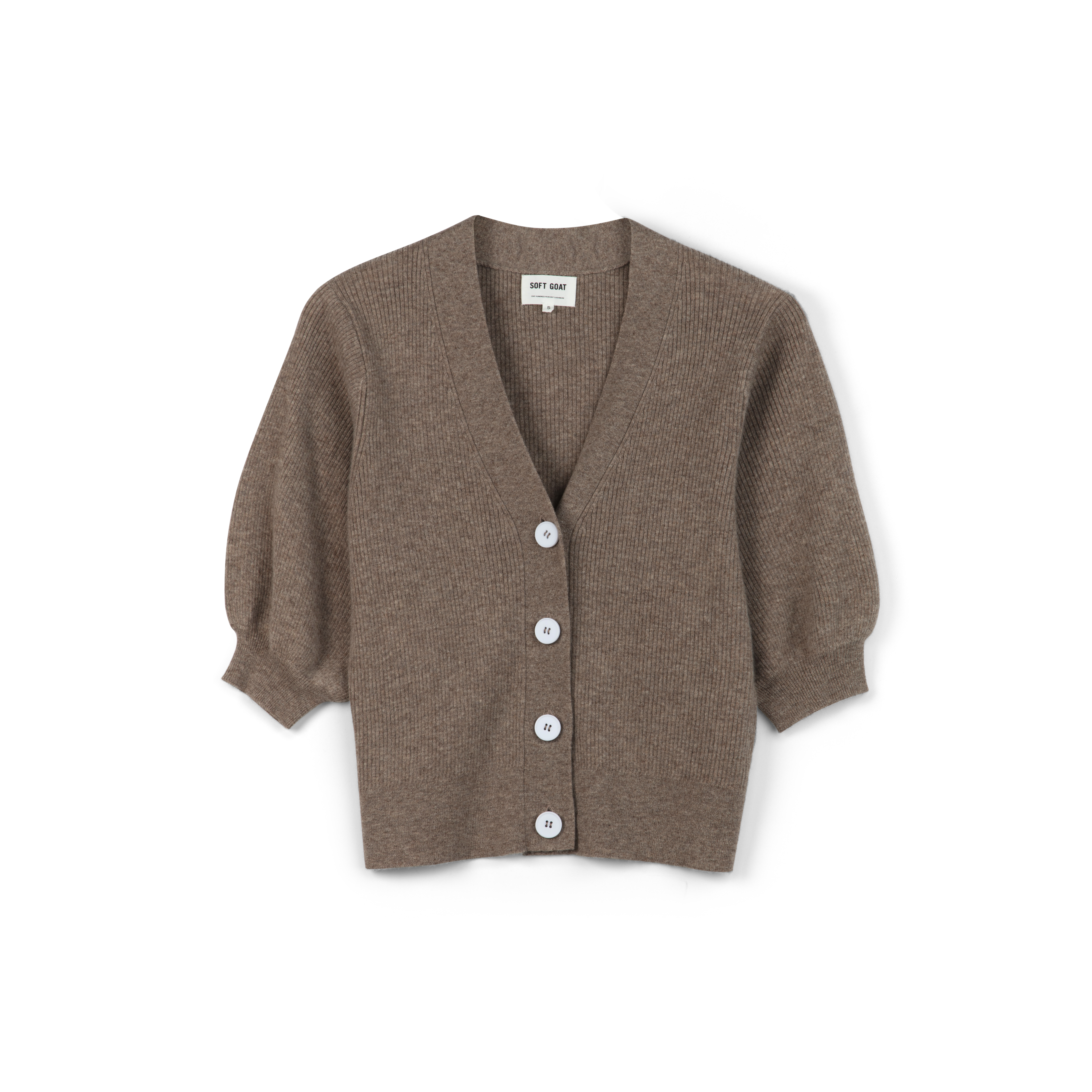 soft goat short sleeve cardigan